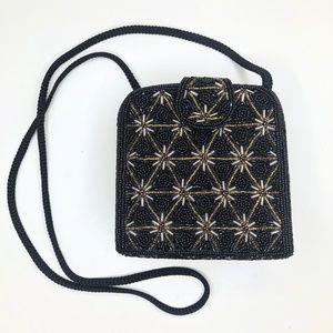 VTG Black& Gold Flower Motif Sequin Structured Bag